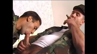 Gay military studs suck each others hard cocks and get anally fucked