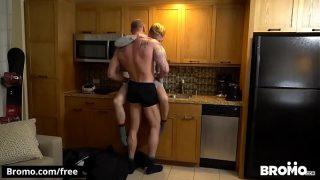 horny gay couple having hot sex in living room