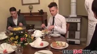 Horny Twink waiter sucks and rides dick after the dinner service