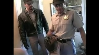 Hot cop dudes in MMM threesome sucking cock and fucking tight ass