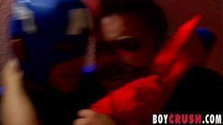 Hot teen gays undress and begin blowing each other hard